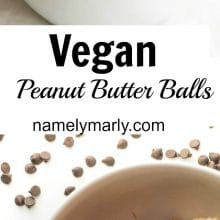 A collage of photos showing chocolate peanut butter balls with the text: Vegan Peanut Butter Balls.