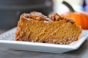 Namely Marly features a gluten free vegan pumpkin pie with praline topping.