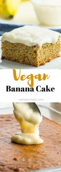 This vegan banana cake is a favorite. It may be yours too if you love tender, moist cake with cream cheese frosting...all surprisingly vegan of course! There's no shortage of banana love in this cake recipe, spiced with ginger and cinnamon and topped with a dreamy, creamy vegan cream cheese frosting.