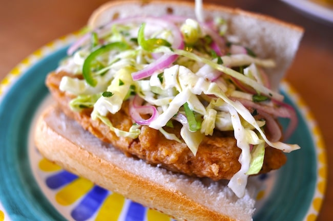 Vegan Fried Chick'n sandwich by Vegan Good Things and featured on Namely Marly