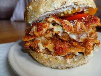 Mandi of Chic Vegan has made a vegan version of the Lasagna Bolognese sandwich for the Namely Marly site.