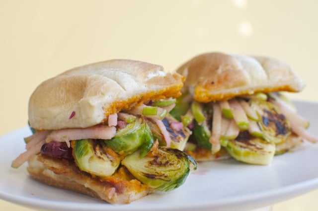 This Brussels Sprout Sandwich is part of the series America's Top 10 New Sandwiches Veganized!