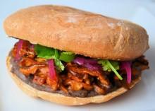 Vegan Pibil Torta Sandwich on a white counter.