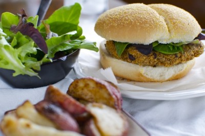 Another quick and easy vegan meal from Namely Marly: Black and White Bean Burgers.