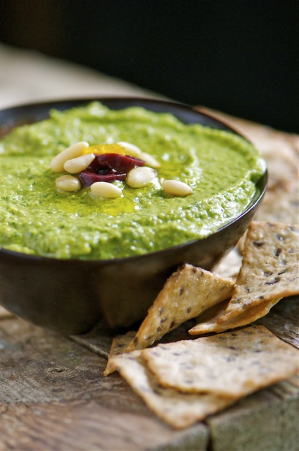 Serve this Green Monster Hummus with crackers or pita bread at your next family dinner