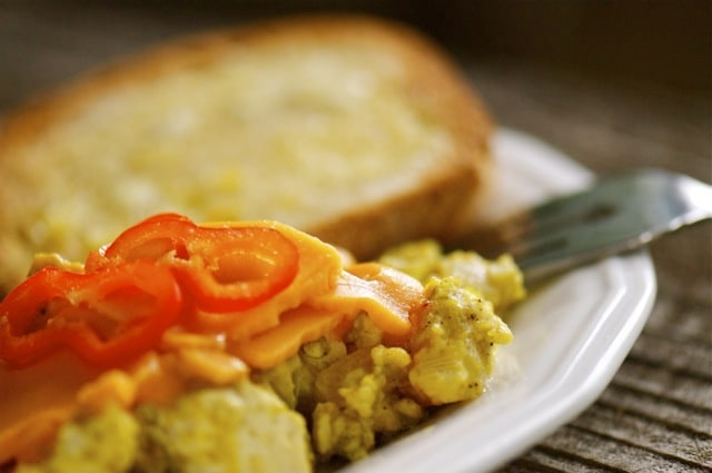 Scrambled Tofu with a slice of toast makes a perfect filling breakfast.