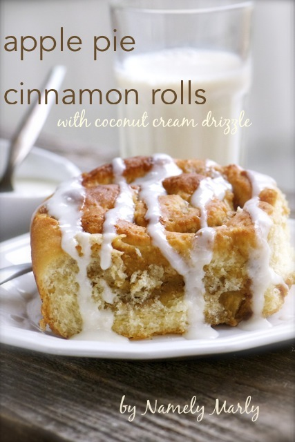 Apple Pie Cinnamon Rolls with Coconut Cream Drizzle
