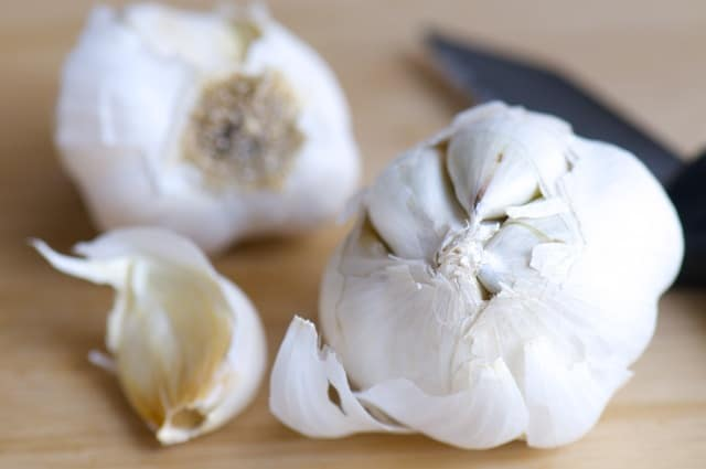 Garlic on the cutting block