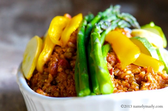 Vegan Jambalaya is a delicious medley of brown rice, vegan sausage, seasoning, and steamed veggies!