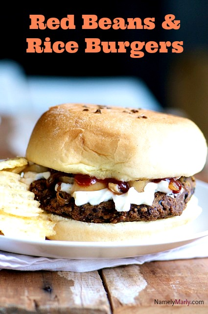 All your favorite New Orleans flavors combine in this delicious Red Beans and Rice Burgers.  #vegan
