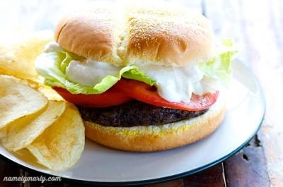 Black Bean Burger with Homemade Vegan Mayo