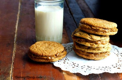 Molasses and Peanut Butter Cream Sandwich Cookies