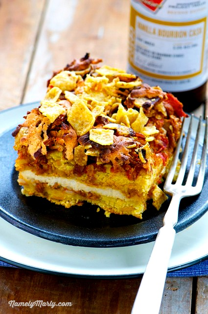 Busy days means quick and easy meals, including this Vegan Taco Layered Casserole