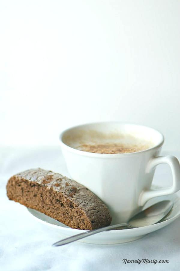 Chocolate Biscotti with Coffee or tea is a breakfast favorite!