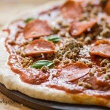 Easy Vegan Pepperoni Pizza with Homemade Crust