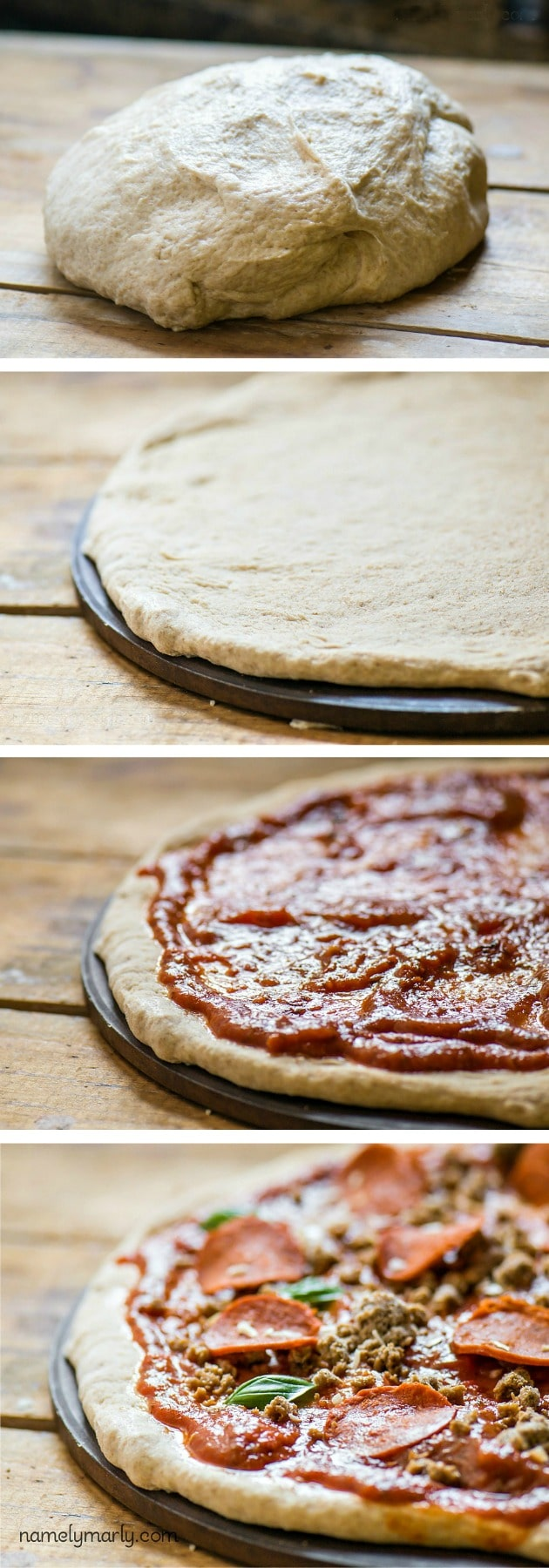 Vegan Pepperoni Pizza with Easy Whole Wheat Crust | NamelyMarly.com
