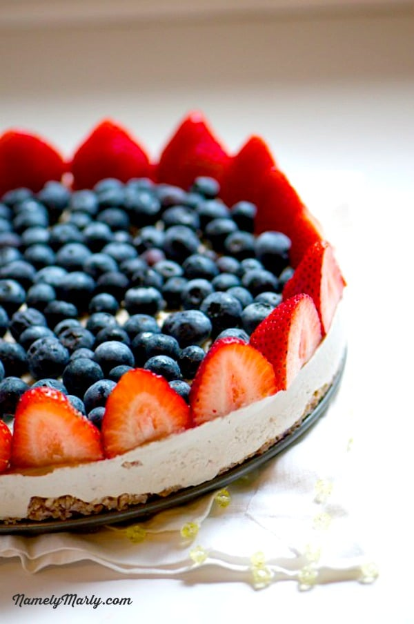 Celebrate the Fourth of July with this Patriotic and Healthy Vegan Red, White, and Blueberry Cheesecake!