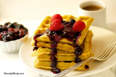Vegan Waffles with Mixed Berry Compote recipe by John Joseph, punk rocker, triathlete, and author of the book, Meat is for Pussies. #vegan