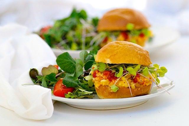 Smashed Chickpea and Sriracha Salad Sandwiches