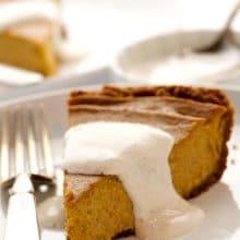 Ginger Pumpkin Pie with Hazelnut Cream and Gingersnap Cookie Crust