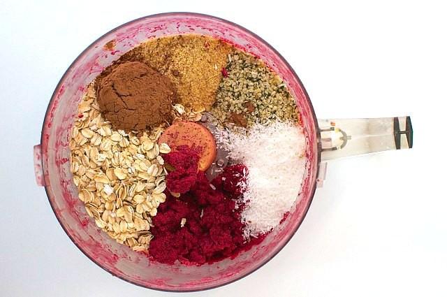 Preparing the ingredients for these Red Velvet Energy Bites