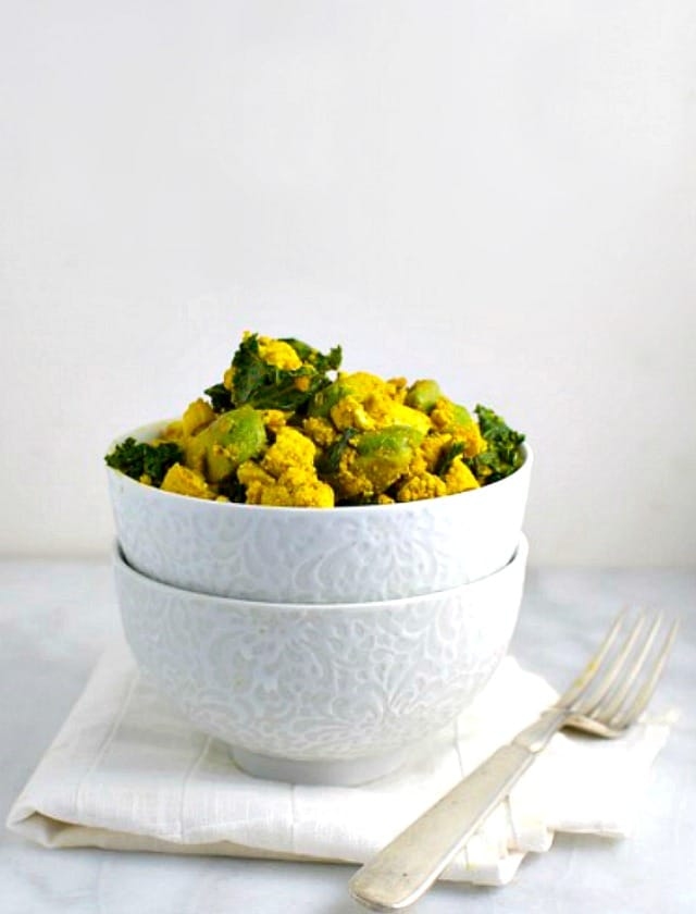 Tofu Scramble with Avocado and Kale is a perfect power breakfast