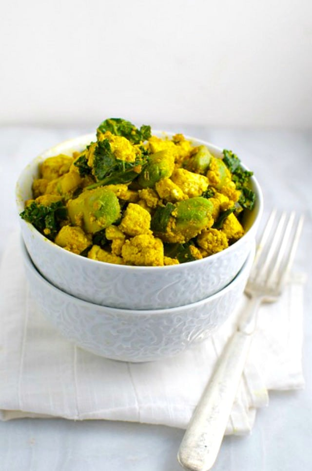 Tofu Scramble with Avocado and Kale
