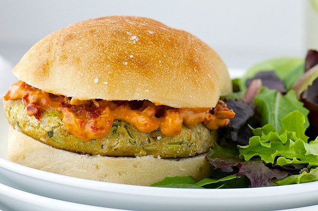 Pesto Veggie Burgers with Sun-Dried Tomato Aioli