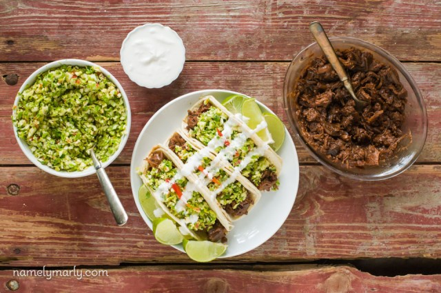 Bulgogi Jackfruit Street Tacos with Brussels Sprout Slaw