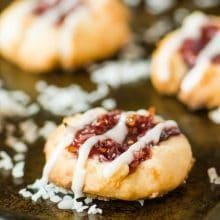 Raspberry Coconut Thumbprint Cookies - a delightful addition to your afternoon pick-me-up!