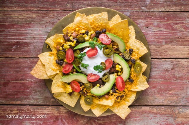 Vegan Loaded Nachos with Bulgogi Jackfruit and all the fixings!