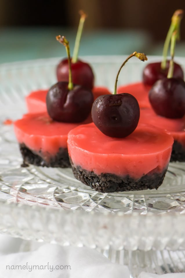 Chocolate Cherry Jello Shots - a fun, vegetarian jello shot to get the weekend started right!