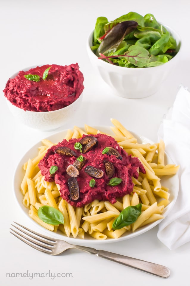 Roasted Beet Hummus Over Pasta