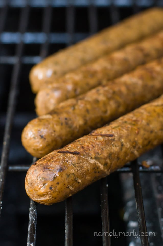 These Lightlife SmartSausages are vegan and make for perfect vegan grilling!