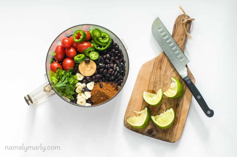 Ingredients for a Vegan Fresco Black Bean Dip