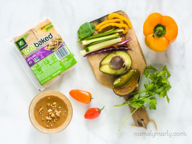 Rainbow Veggie Spring Rolls - all the ingredients including Nasoya's Teriyaki BakedTofu