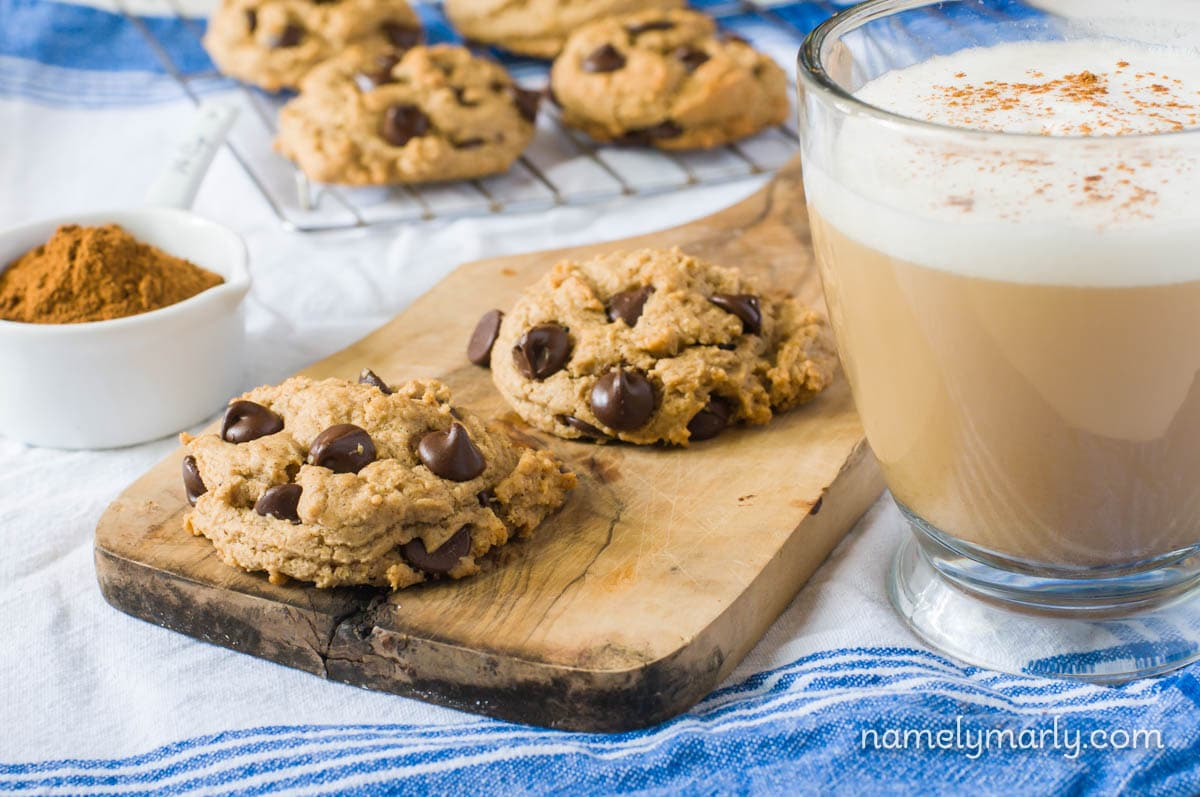 Dig into these delicious pumpkin spiced chocolate chip cookies