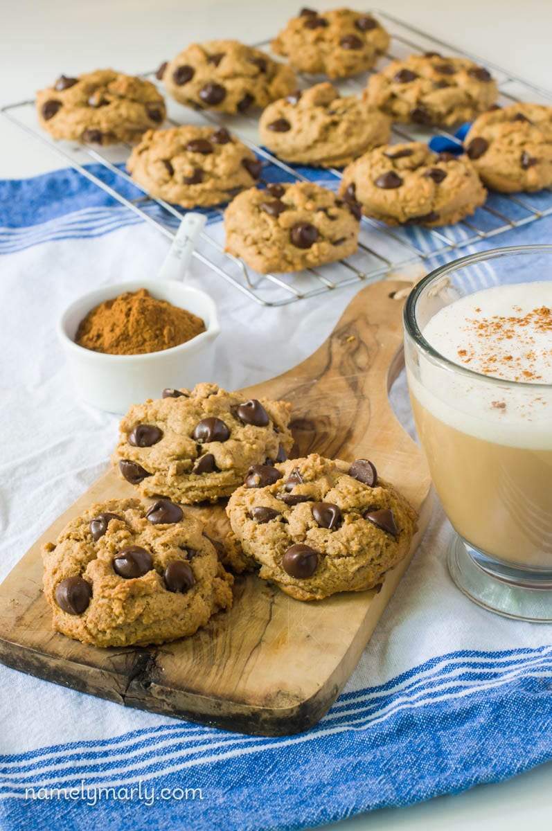 Pumpkin Spice Chocolate Chip Cookies, just in time for Christmas Cookie Season!