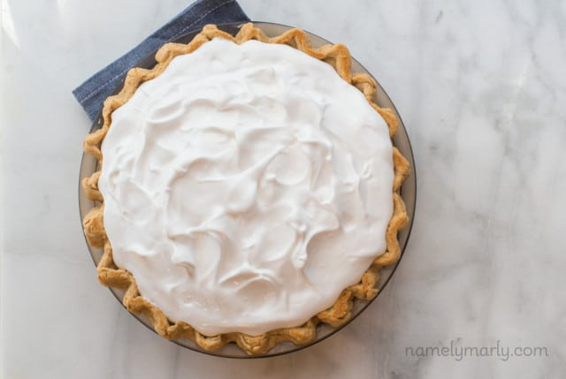 Meringue on a pie before it's baked.
