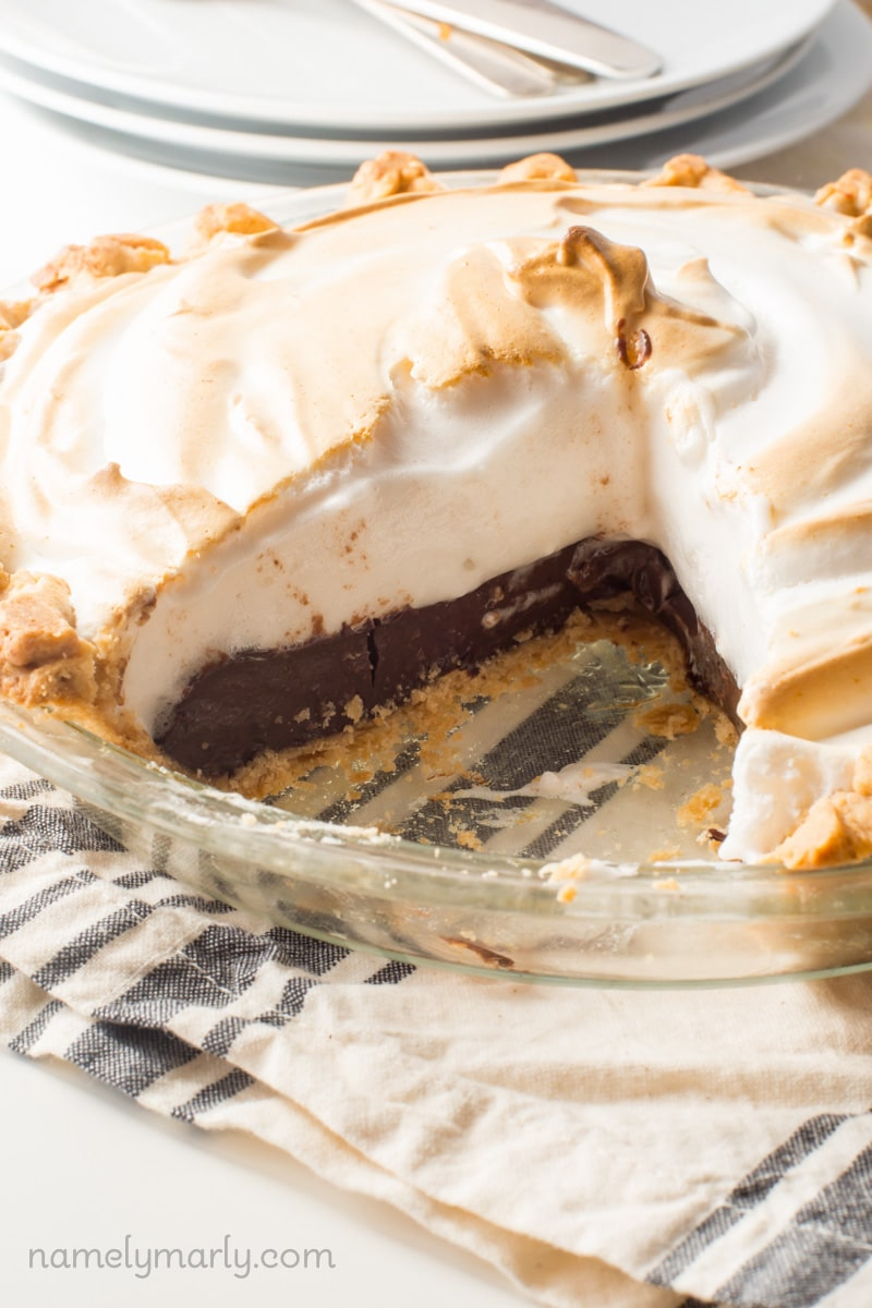 Vegan Chocolate Meringue Pie with Vegan Meringue made from a secret ingredient you won't even believe!