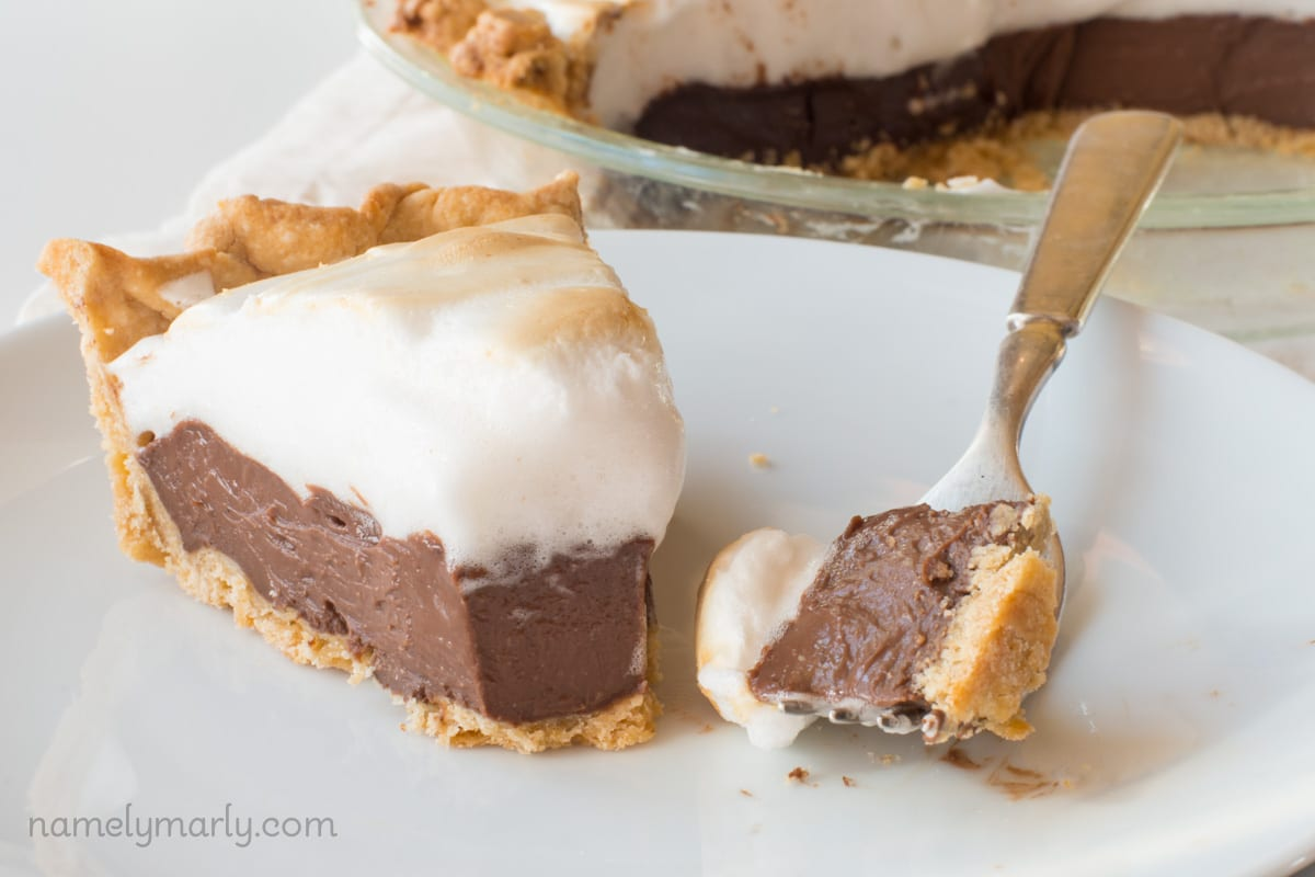 Sit down and enjoy a bite or two of this delicious Vegan Chocolate Meringue Pie