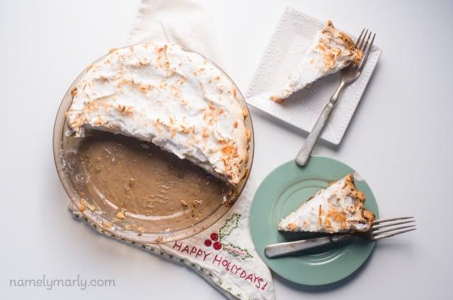 A vegan version of my childhood favorite pie - Vegan Coconut Meringue Pie