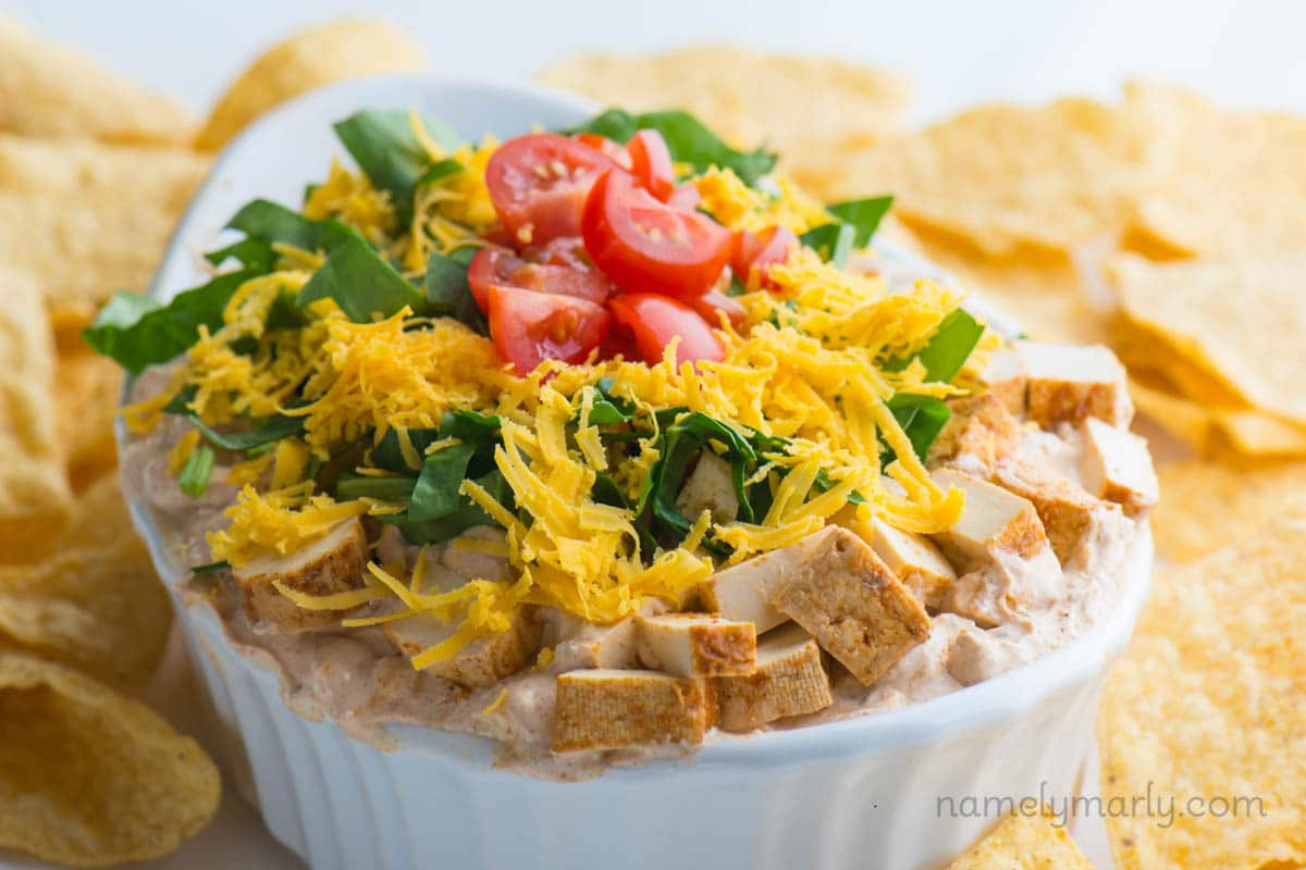 Vegan Taco Dip is best served with tortilla chips