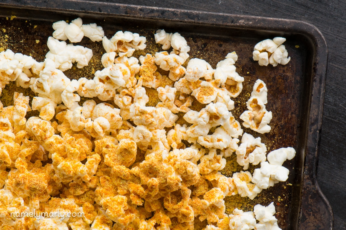 We like lots of seasoning with our Nooch Popcorn Recipe