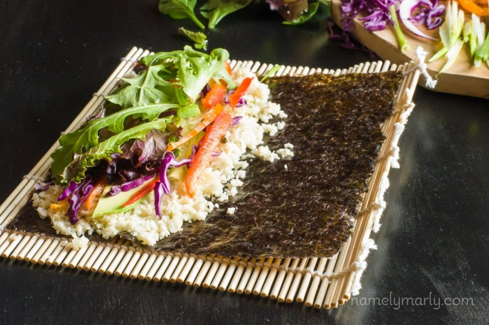 Vegan Sushi Rolls with Cauliflower Rice