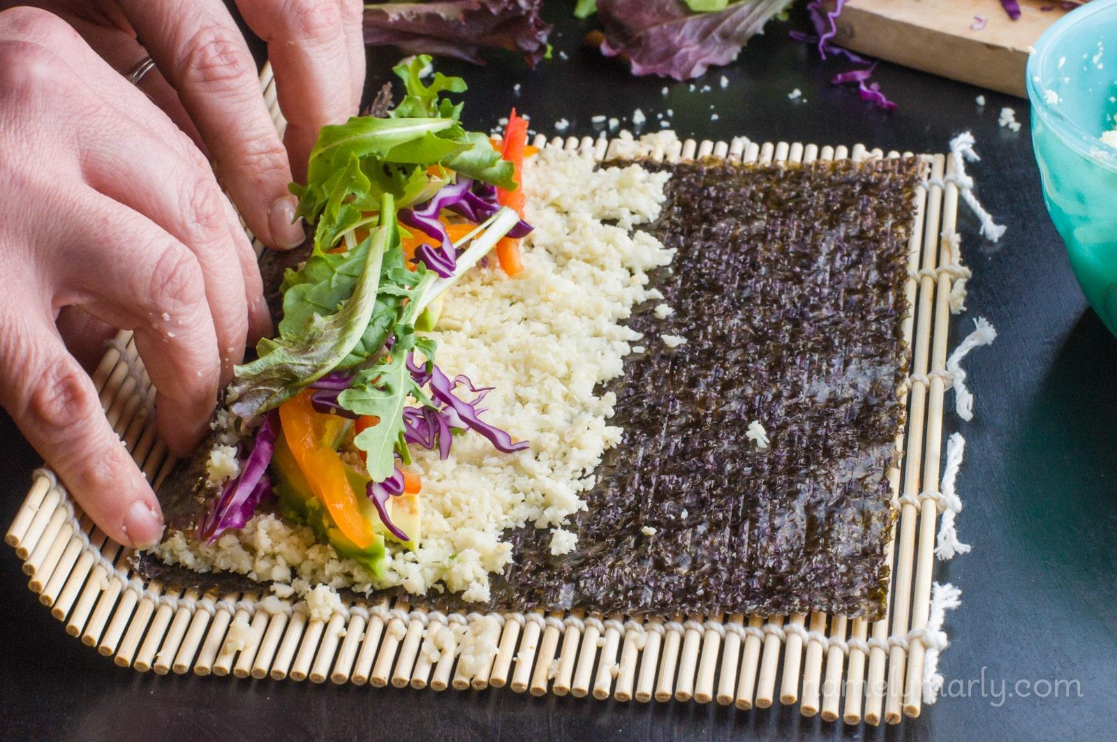 Cauliflower Rice Vegan Sushi Rolls