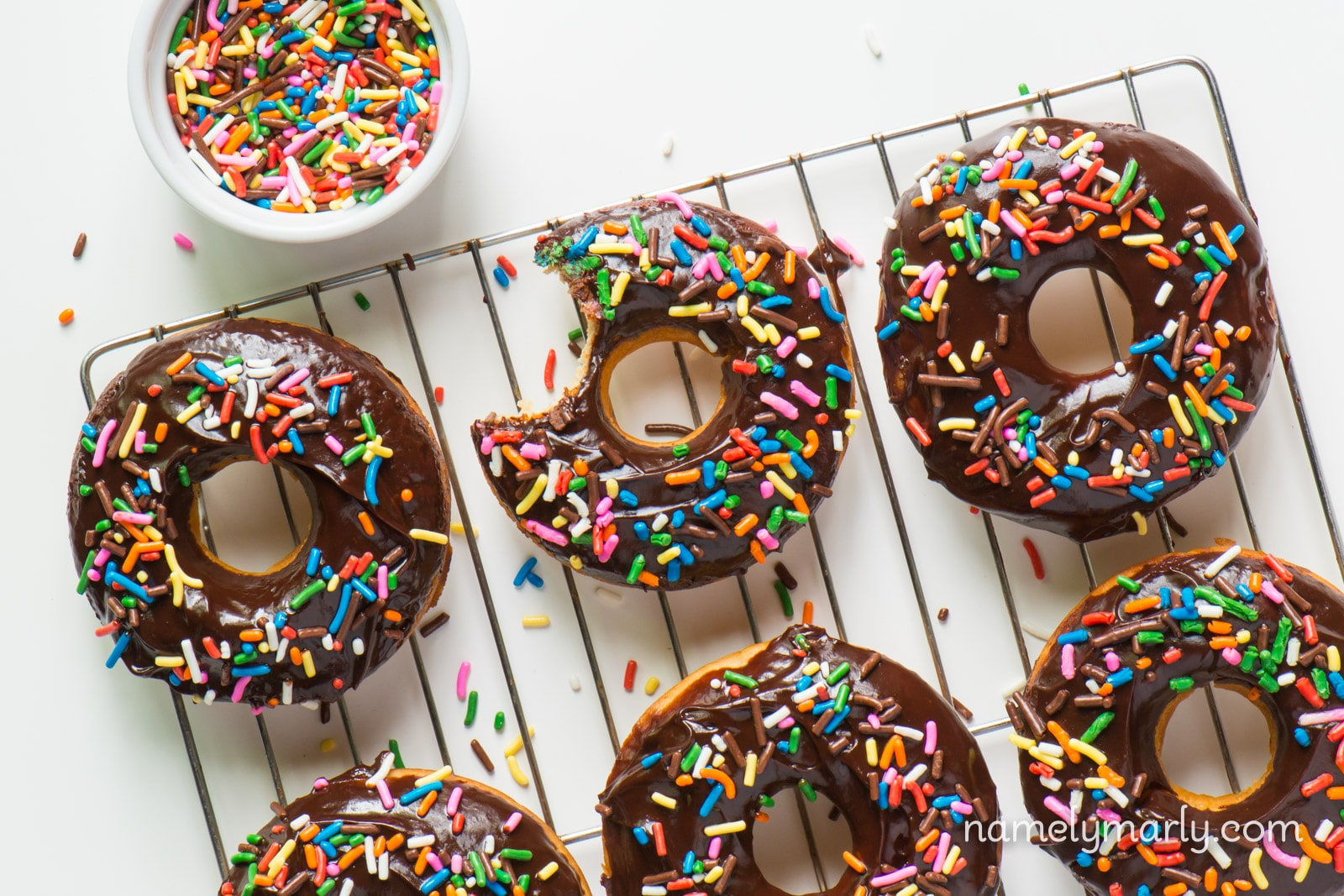 Vegan Chocolate Glazed Donuts with Sprinkles - Namely Marly
