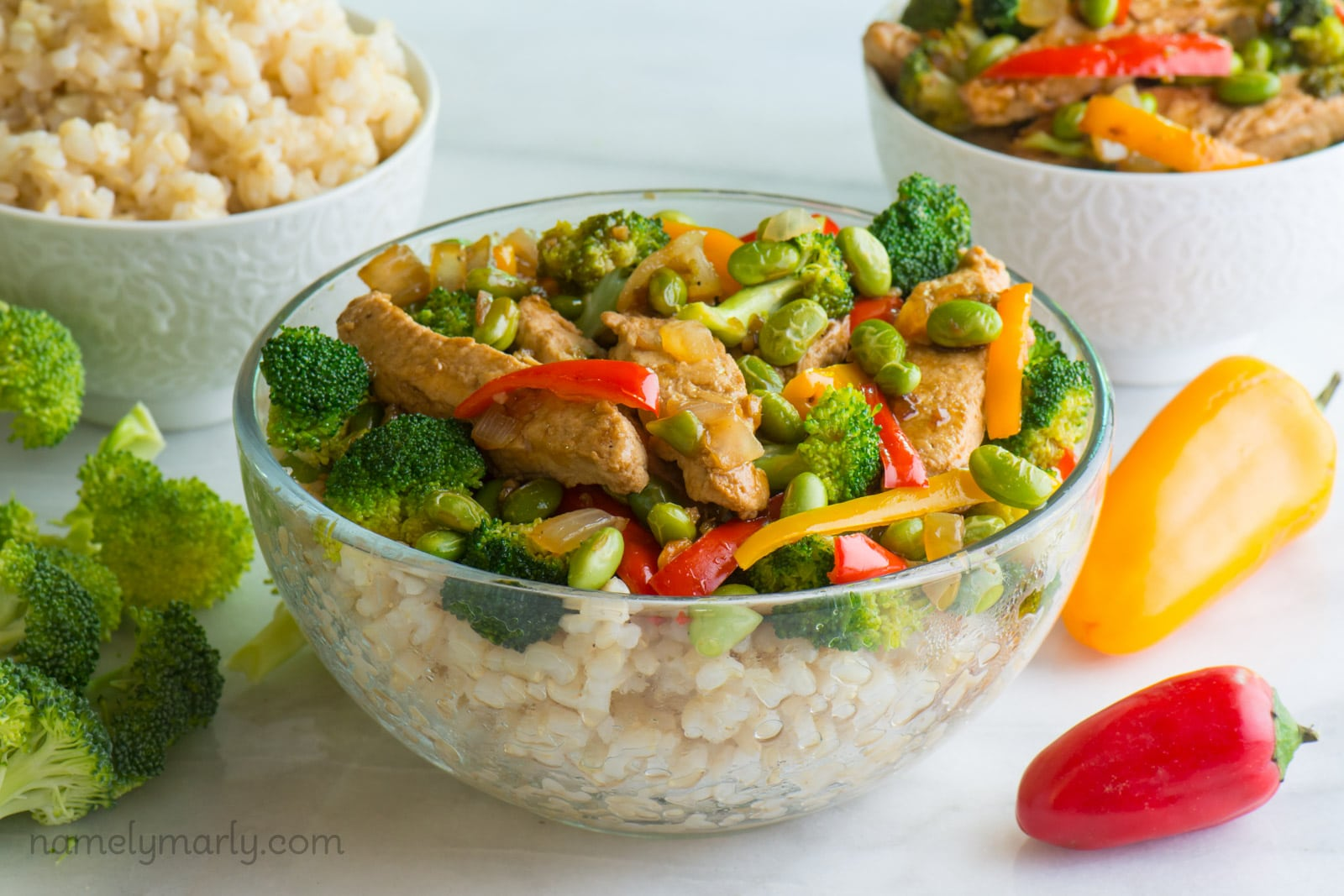 Vegan Teriyaki Chicken and Edamame Rice Bowls