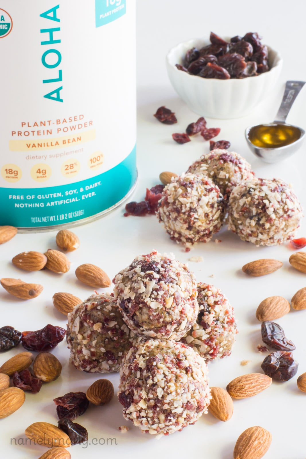 Vegan Cherry Vanilla Energy Bites made with vanilla protein powder