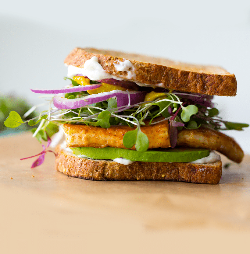 We're loving on this Lunch Sandwich with Sizzling Tofu by Healthy Happy Life
